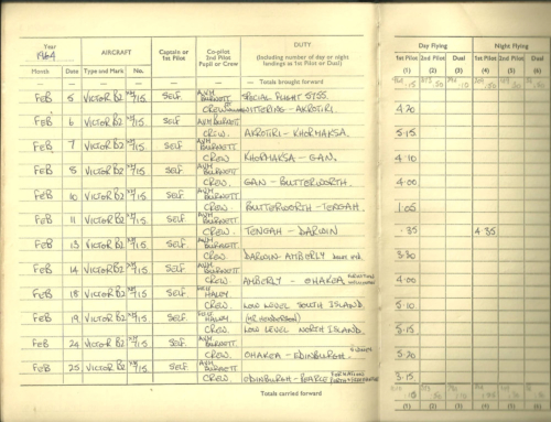 Page 1 of log for Wittering to Ohakea and back