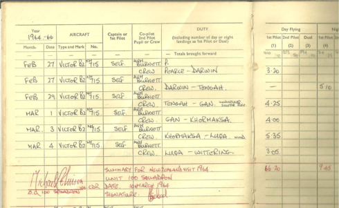 Page 2 of log for Wittering to Ohakea and back